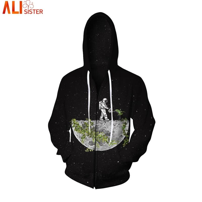 Alisister Galaxy Black Zipper Hoodies Environmental Protection 3D Men Women Jacket Sweatshirt Sweat Homme Unidex Outwear