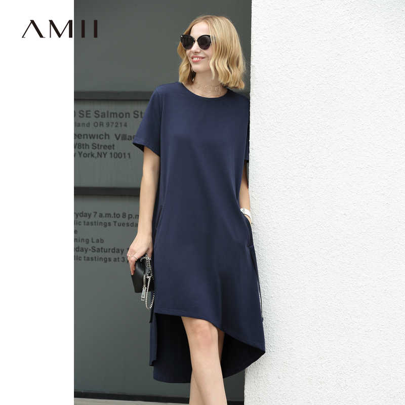 0d0fa30877efd Amii Women Minimalist 2018 Summer Dress Office Lady Long Back Short Front  Loose Plus Size Female Dresses