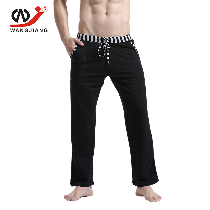 WJ 2018 Men Home Pants Pajamas Sleepwear Pyjamas Men Winter Pajama Pants Mens Pyjama Sheer Pants Cotton Bottoms Solid ...