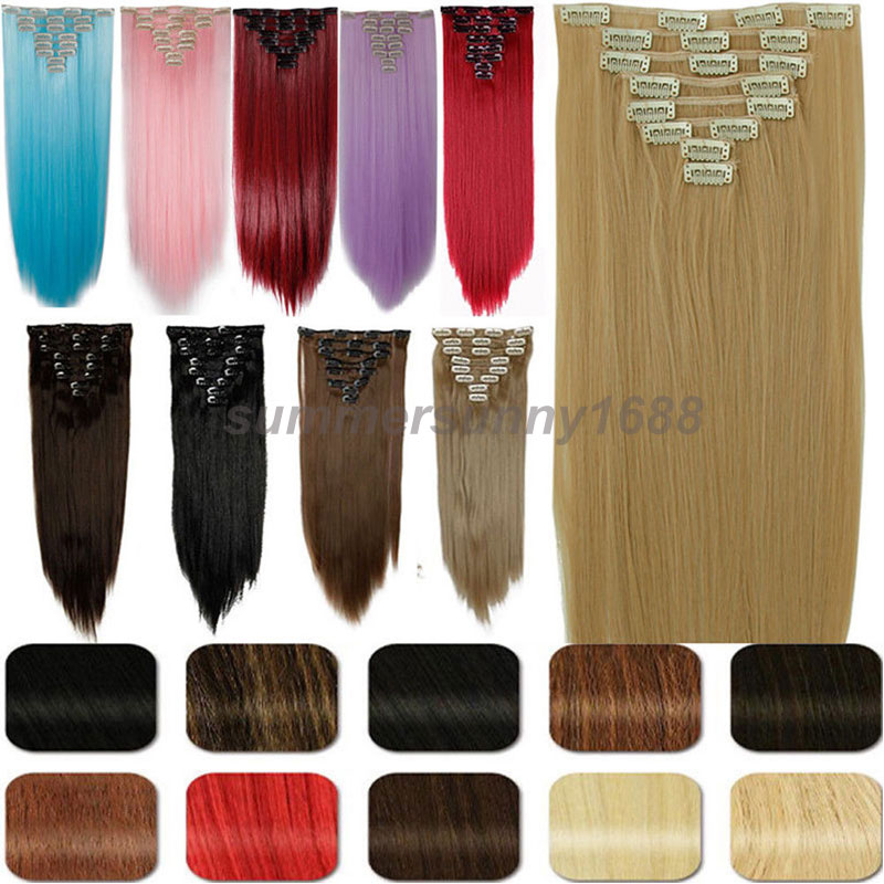 Cheap clip in human hair extensions full head images hair 66 cm 8pcs full head clip in hair extensions extension 18 clips on 66 cm 8pcs pmusecretfo Choice Image