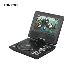 LONPOO Portable DVD Player 7 Inch Swivel Screen DVD Player with Built-In Rechargeable Battery DVD Players With USB SD Card