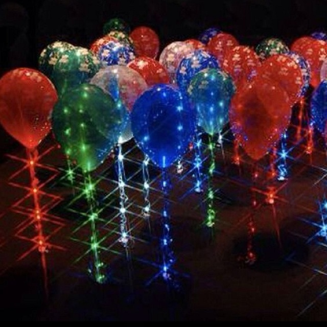 Led Balloon Sparkle Ribbon Lights Multi Colour Brighten Up Your Party