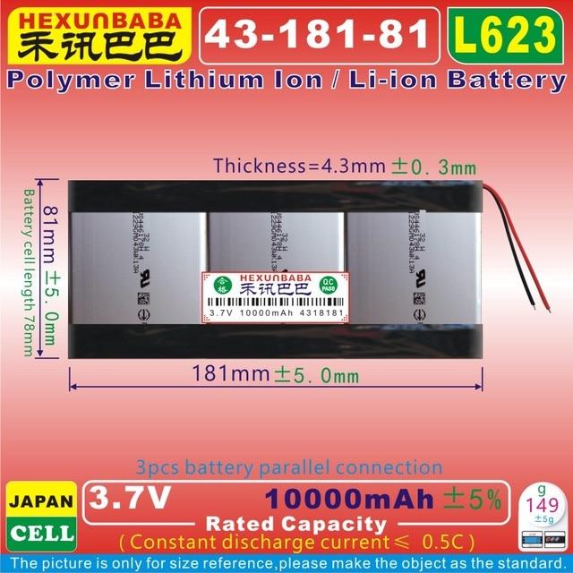 [L623] 3.7 V 10000 mAh [4318181] Polymer Li-Ion pin phù hợp cho PIPO M9 pro 3g /max M9 quad core tablet pc, sony di động