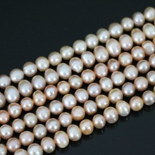 Approx round natural freshwater orange pearl round loose beads fit diy necklace wholesale retail jewelry 15inch B1352