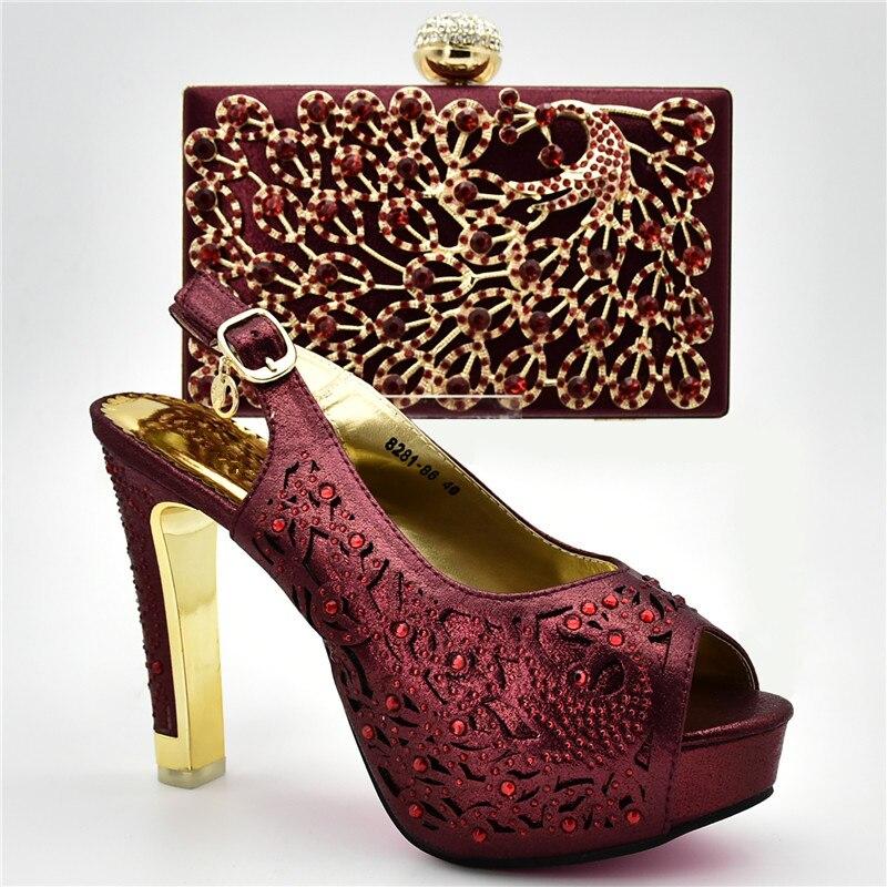 Imitación wine Bolsos Africanos Mujeres Tacones Conjunto Y fuchsia Moda Nigeriana Altos Boda Decorados Mujer Conjuntos Bombas Azul De Nueva oro 2018 Con Zapatos Diamantes fzq77g