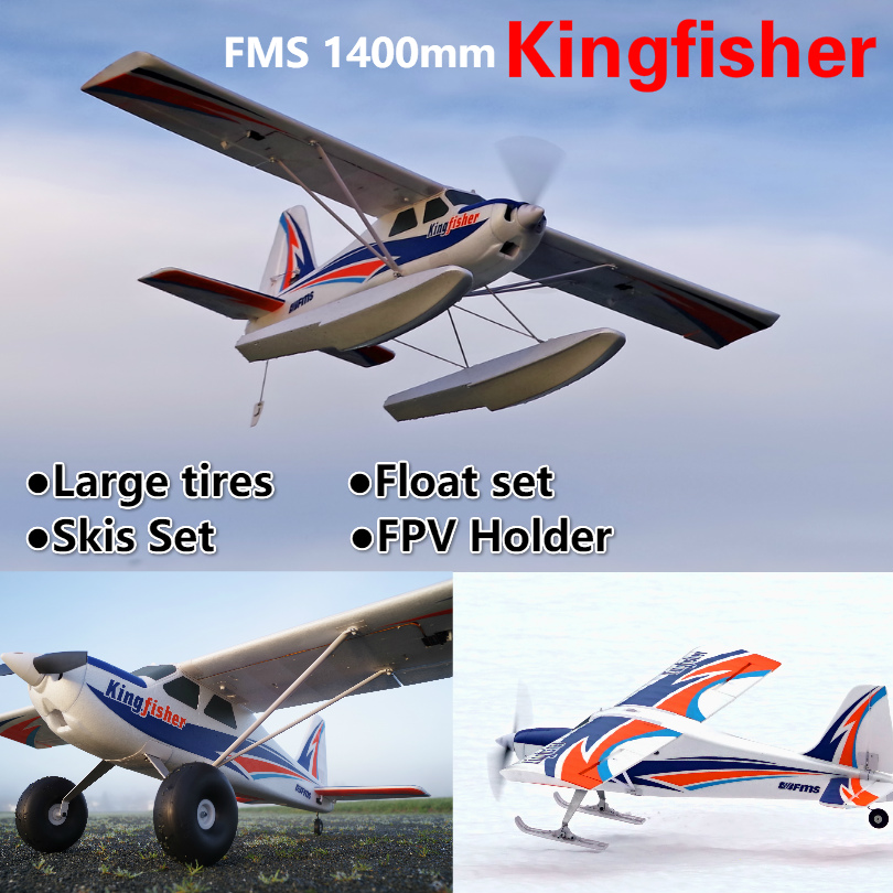 FMS 1400mm Kingfisher Trainer Beginner Water Sea Snow Plane 3S 5CH With Flaps Floats Skis PNP RC Airplane Model Plane Aircraft image