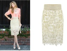 Lace Midi Bodycon Skirt Women Autumn High Waist Pencil Solid Black White Skirts