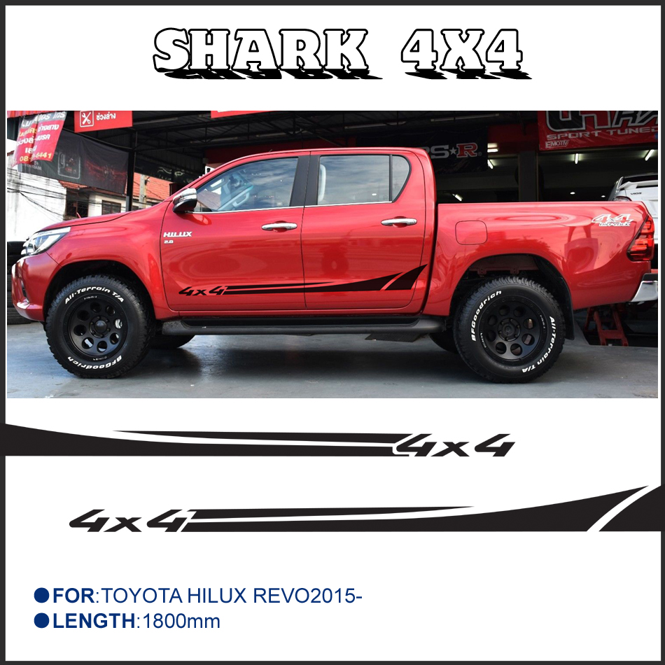 For toyota hilux customize car accessorie decals 4pc hilux shank 4x4 side stripe graphic vinyl protect scratch modified sticker in car stickers from