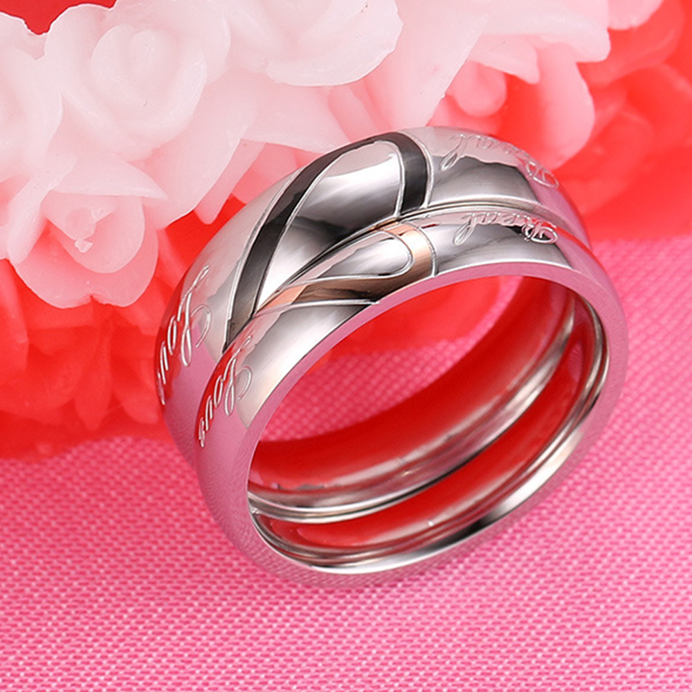 Ongoing Melody Wedding Couple Rings For Women Men Silver Color Rings ...
