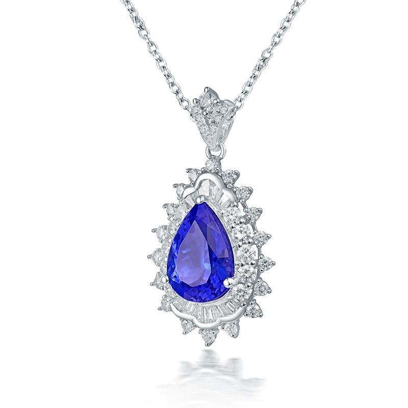 LOVERJEWELRY, женский элегантный кулон, твердый, 18 К, белое золото, голубой танзанит, Свадебный кулон, самоцвет в форме груши, настоящий бриллиант - 2