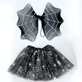 Novelty Black Spider Web Wings Skirt Costume Set Performance Props Fairy Child Gifts Festival Halloween Party Decoration