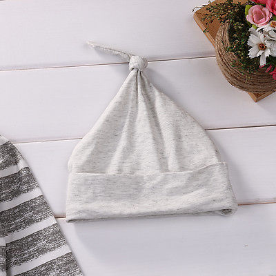 Gray cotton Newborn Baby Girls Clothes Striped Tshirt Tops Pants Leggings hat Outfit 3PCS Baby Clothing Set for infant kid boy 5