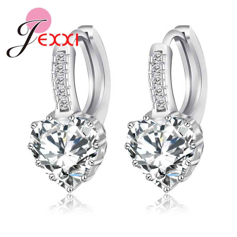 Real Pure 925 Sterling Silver Luxury Colorful Heart Band Jewelry Cubic Zirconia Stone Earrings Fashion For Women Girls 1