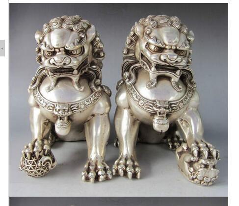 Китайская народная 9,8 дюйма китайская Серебряная латунная Статуя Льва пара для собаки фу Фо собаки тибетское серебряное украшение латунные