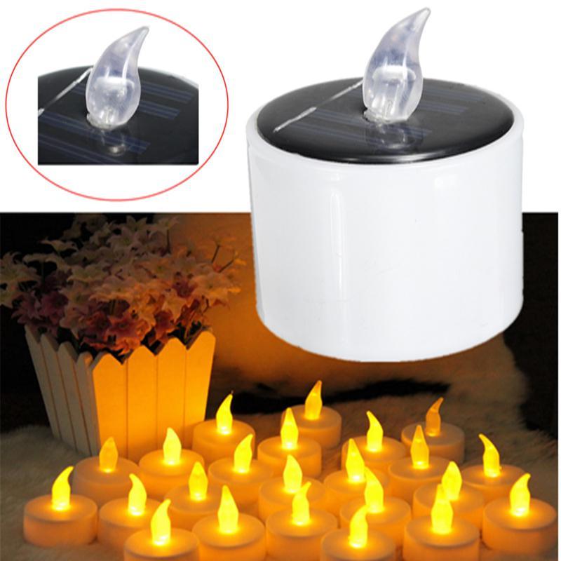 Солнечные СВЕТОДИОДНЫЙ свеча солнечный свет светодиодный Лампа Цилиндрической Жёлтый чай свет теплый белый для Рождество Свадебная вечеринка Декор