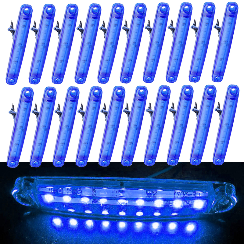 20pcs Blue 9LED Bus/Truck/Trailer/Truck LED Lights Side Marker Light Waterproof 24V LED Light Tail Turn Signal Parking Indicator