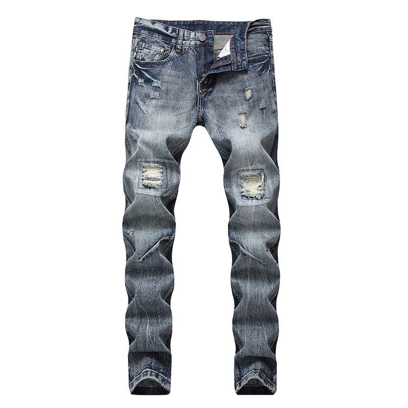 2018 Nuovo Biker Magro Jeans Uomo Di Alta Stretched Balmai Jeans Con Cerniere Pieghettato Sottile Jean Uomo Graffiato Pantaloni Pantaloni 4002