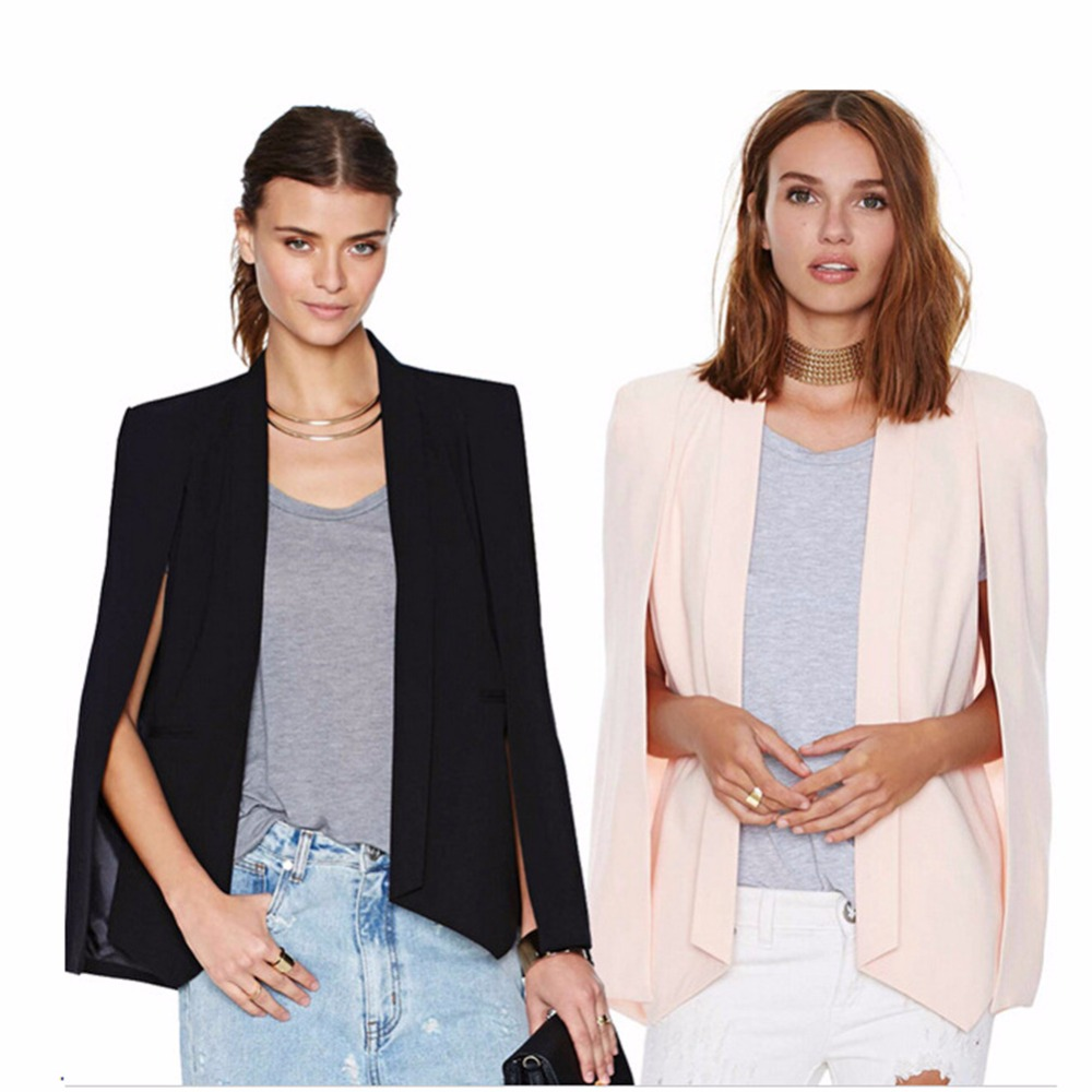 2018 New Spring Autumn Europe and America Women Fashion Office Lady Blazers Unique Design Shawl Open sleeves Cotton Coat XZ66161