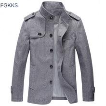 FGKKS חדש מותג גברים של מעיל מזדמן 2020 אביב חורף צווארון עומד פרווה Mens הלבשה עליונה זכר Windproof מעיל בגדים