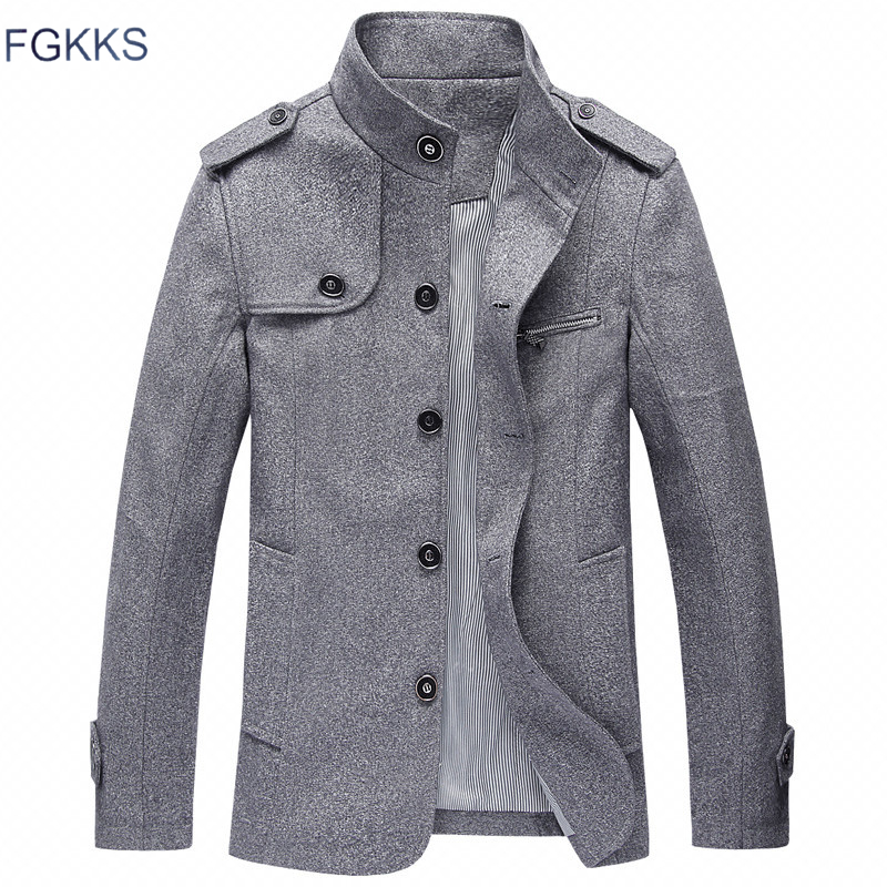 FGKKS New Brand Men's Casual Jacket 2018 Spring Winter Stand Collar Mens Coat Slim Outerwear Male Windproof Jacket Clothing