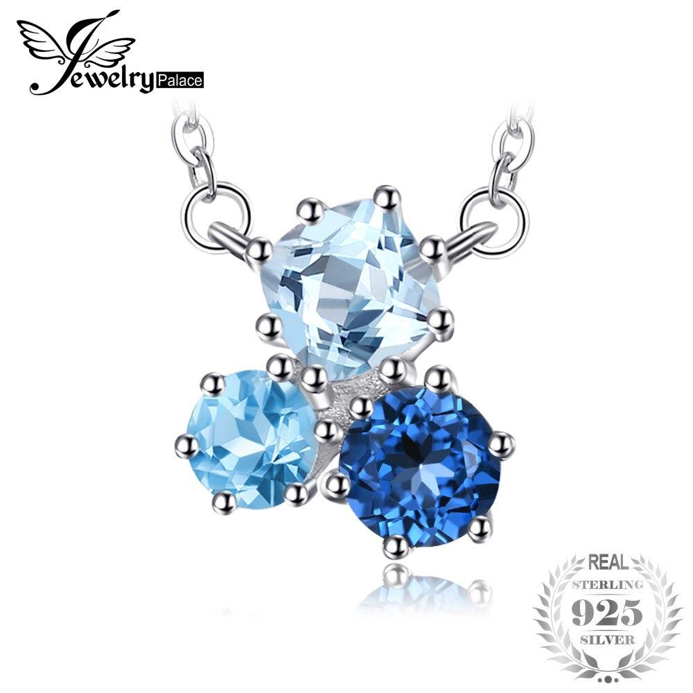 af69627b201 JewelryPalace 1.7ct Verdadeira Multi Londres Topázio Azul Pingente de Colar  de 925 Cadeia de Caixa de Prata Esterlina 45 cm Mulheres Moda Jóias