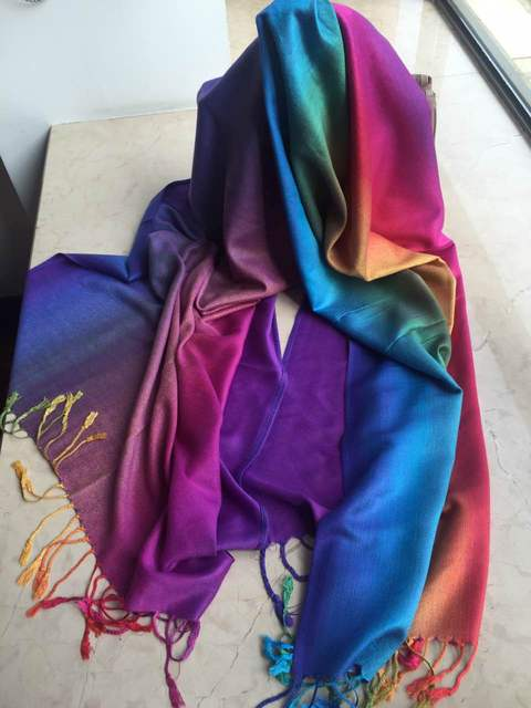 Rainbow Glow Pashmina Scarf | Pashmina Scarves | Up to 60% Off Now