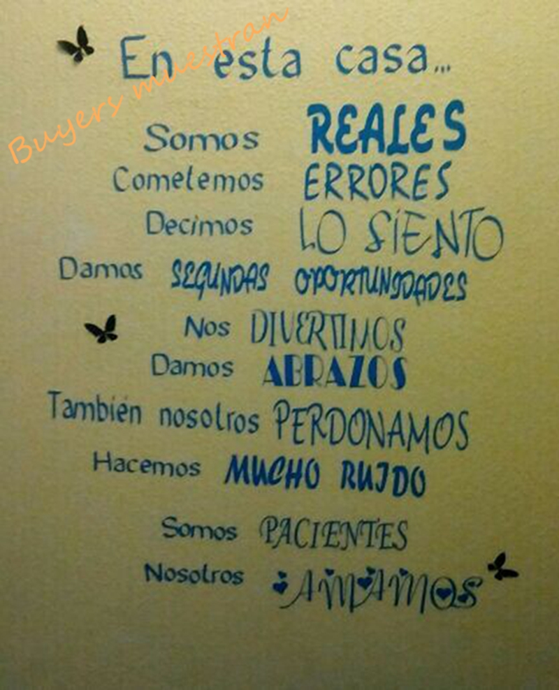 Spanish Version House Rules Vinyl Wall Decals Family Quotes Art Sticker For Home Living Room