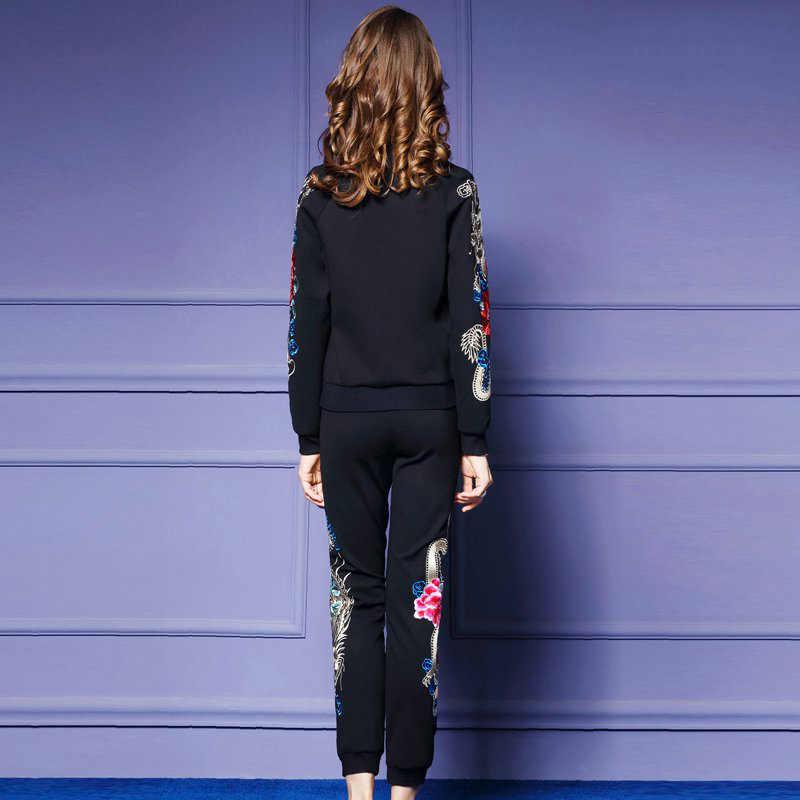 Женский комплект из двух предметов, спортивный костюм, Топы + штаны, осенняя мода размера плюс, длинный рукав, цветы, вышивка, Женский комплект 2 шт., наборы 4XL