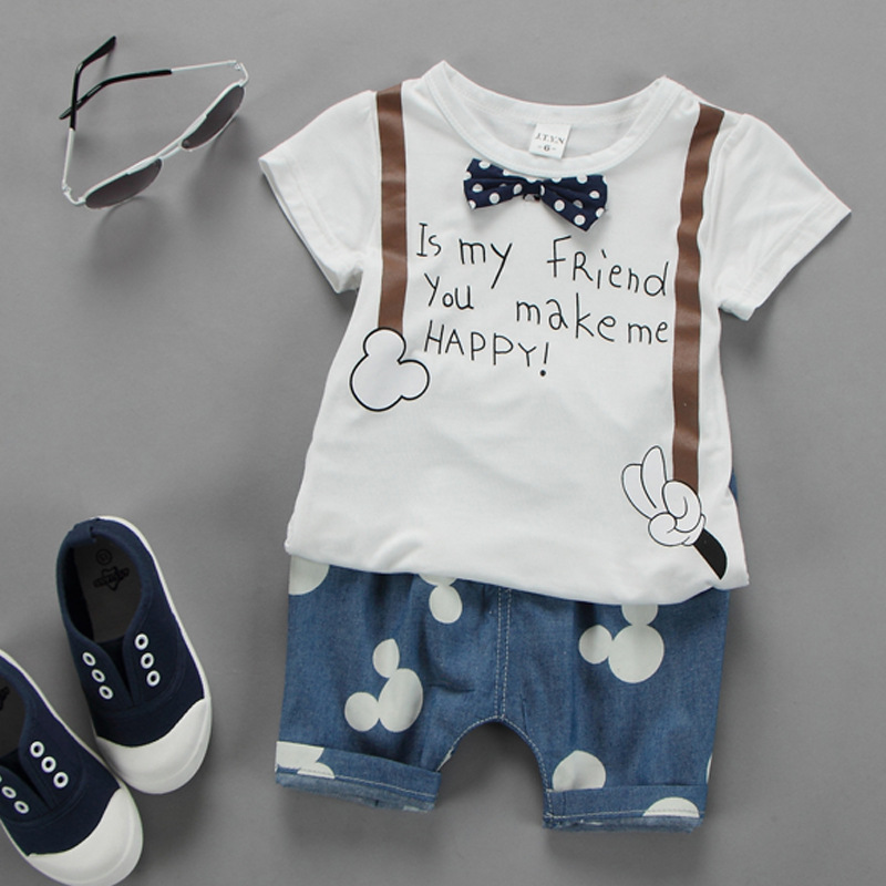 Summer Childrens Wear 2018 Mickey Denim Cartoon Cotton Suit Short-sleeved Jeans Two Sets Kids Shorts Round Neck Pullover Cute ...