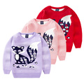 2016 girls clothes sweaters children cartoon fox thick double layer pullover sweater cotton baby children clothing kids tops