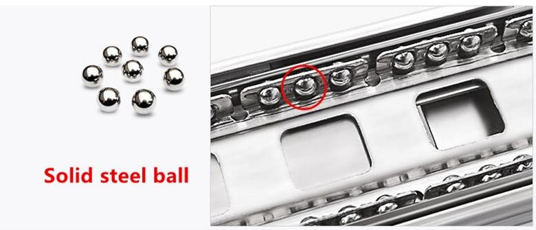 1 пара, длина 20 дюймов, боковое крепление из нержавеющей стали, шариковый подшипник, 3 секции, выдвижной ящик, бесшумный буфер, мягкое закрытие