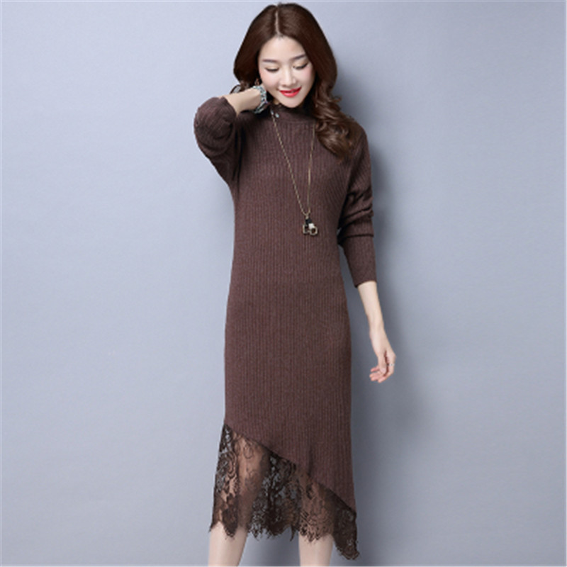 2017 New Women Autumn Winter Knitted Dresses Long Sleeve Sexy Lace Sweater Dress Casual Bodycon Dress Vestidos Female C21 sweater dress new autumn winter women warm thick turtleneck sexy knitted dress long sleeve casual bodycon dresses vestidos ab410