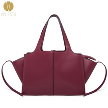 GENUINE LEATHER TRI FOLD TOTE Women s 2017 Winter Fall New Trifold Wings Trapeze Large Capacity