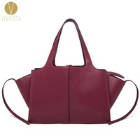 GENUINE LEATHER TRI FOLD TOTE Women S 2016 Winter Fall New Trifold Wings Trapeze Large Capacity