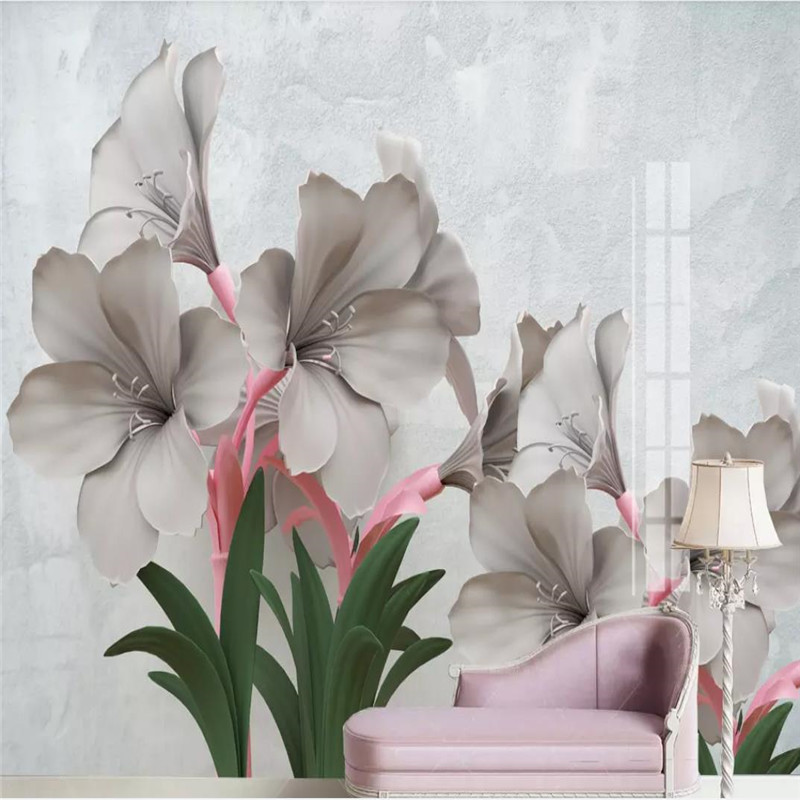 Nordic wallpaper creative new flower 3d embossed flowers TV background wall professional production mural photo
