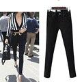 2017 Fashion Women Jeans Pants Female Ankle-length Skinny Solid Full Length Pencil Burr Pants