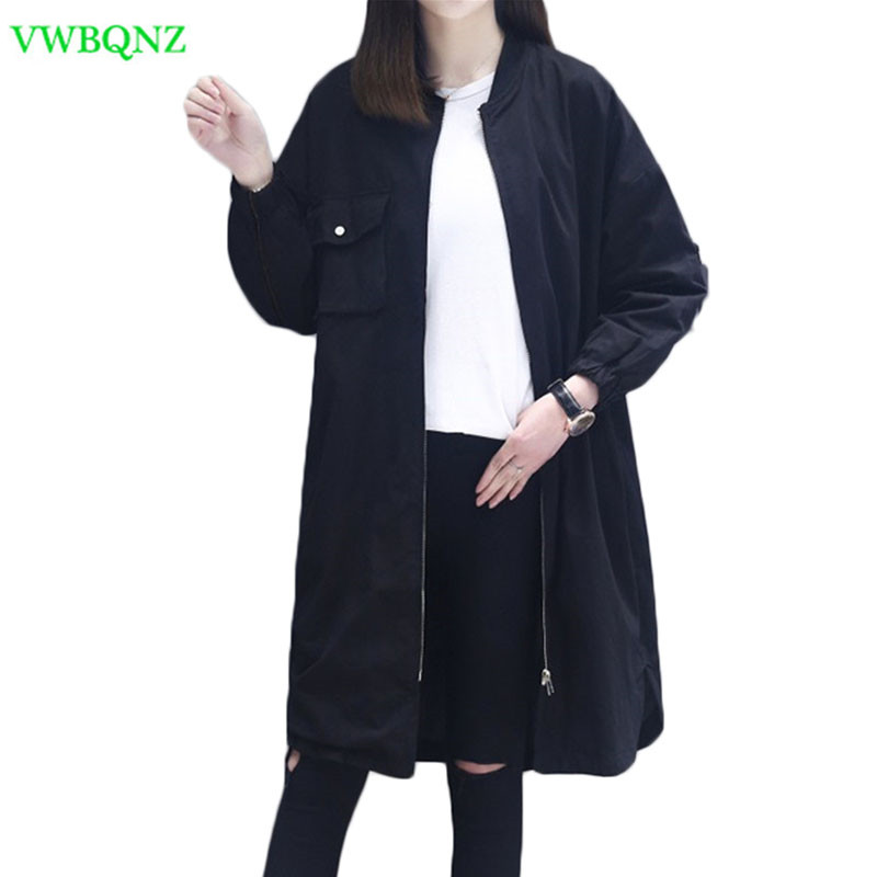 Spring New Casual Windbreaker coat Women Loose Long Thin   Trench   Coats Women's Fashion Standing collar Plus size Outerwear A366