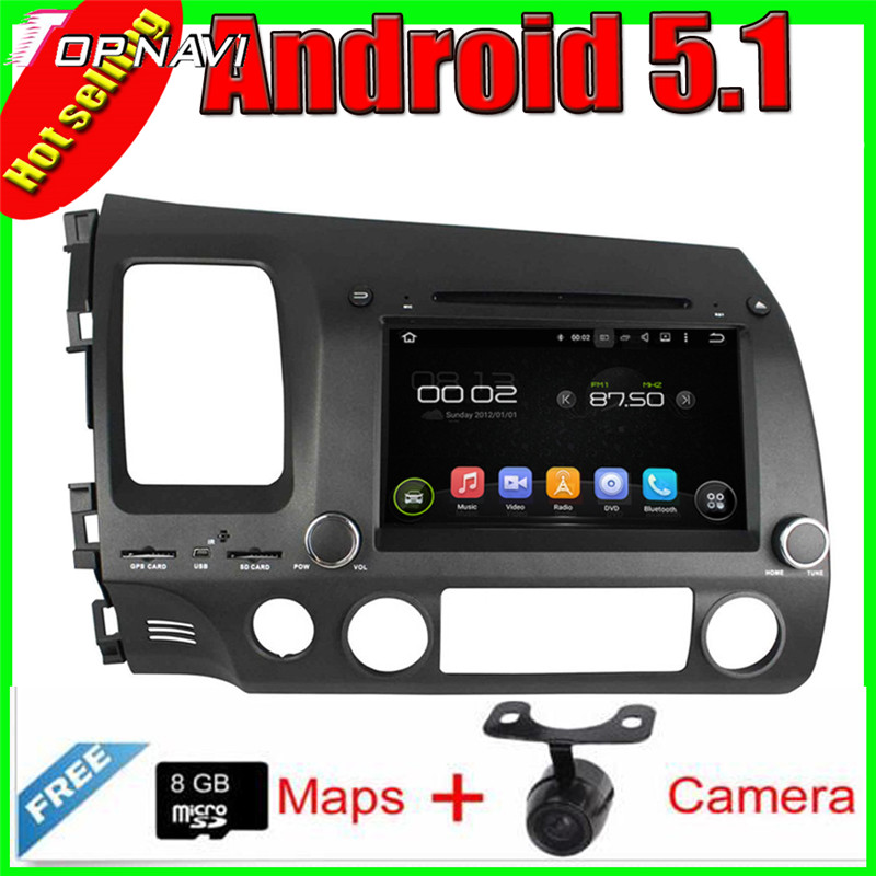 "8"" Quad Core Android 5.1 Car Radio GPS For  CIVIC (left) 2006-2011 With 16GB FLash Mirror Link Video DVD Stereo  Free Shipping"