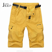 AFS JEEP Summer Candy Color Brand Man's Shorts Quick Dry,Yellow solid Beach Style Casual Ventilate Knee Length Trousers M TO 4XL