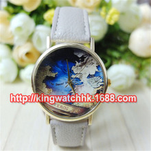 100pcs/lot,Promotion New hot styles leather watches with world map watches,wholesale Unisex alloy fashion wristwatch