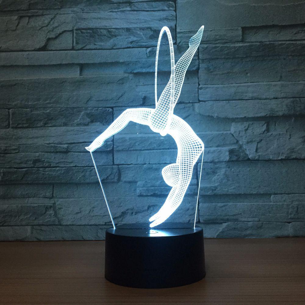 Eurhythmics 3D Lamp 7 Colors LED Night Lamp USB Table Lamp Bedside Nightlight Freestanding Artistic Gymnastics Mood Lighting (7 Colors Change)