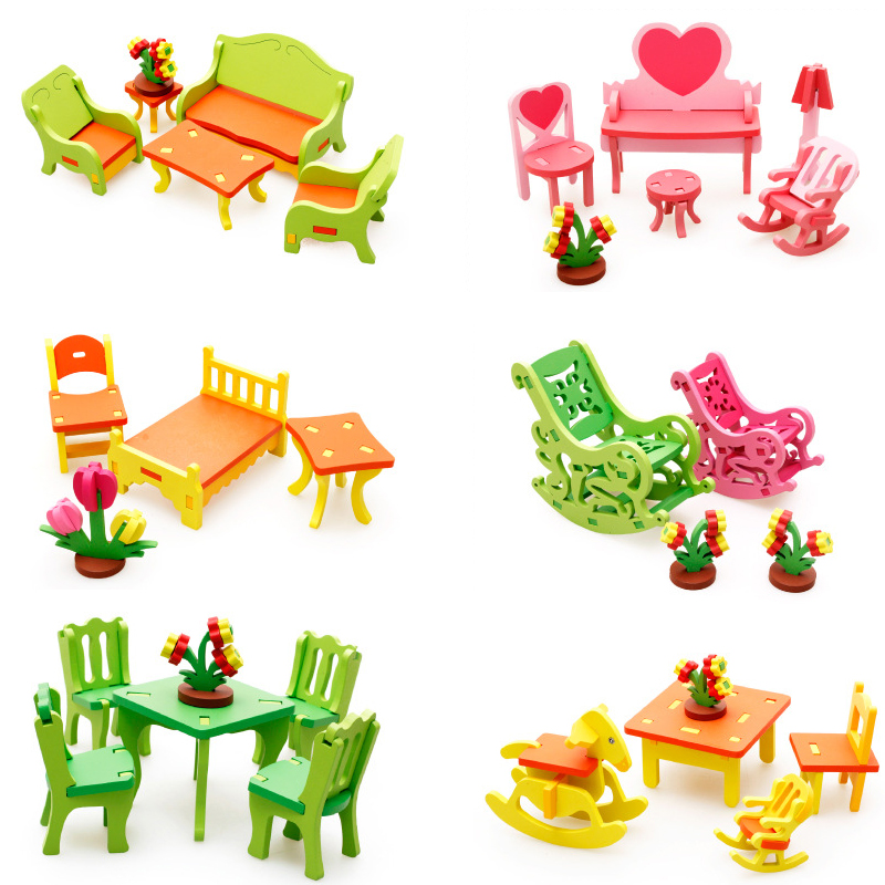 MWZ 3D Wooden Assembling Furniture Toys Set For Dollhouse Children Classic Pretend Toy Wood Educational Assembling Gifts