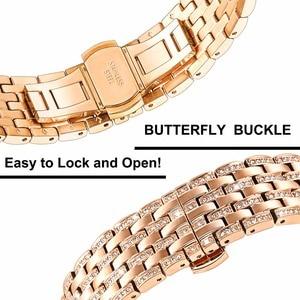 Image 4 - יהלומי רצועת השעון לסמסונג גלקסי שעון 42mm 46mm פעיל 2 40mm 44mm להקת נירוסטה רצועה נשים גברים תכשיטי צמיד