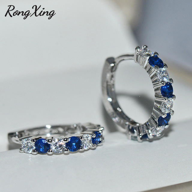 Small Round Zircon White Blue Stone Hoop Earrings