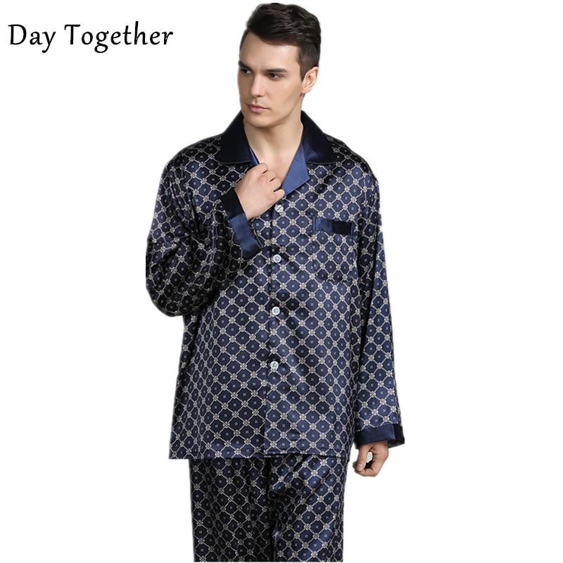 Sleepwear Shirt Pajamas-Set Satin Long-Sleeves Silk Male Pants Printed Men