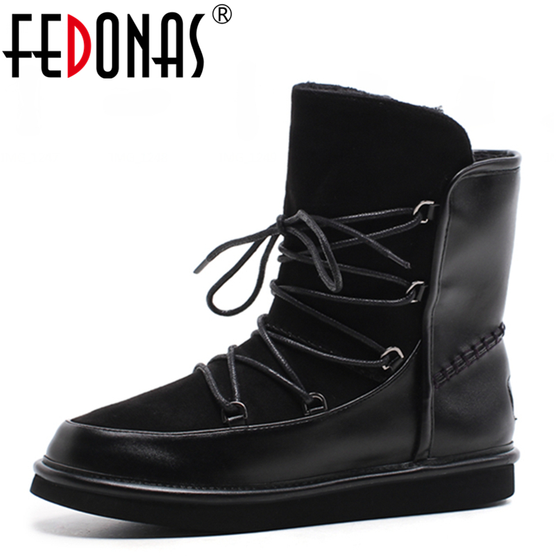 FEDONAS New Fashion Genuine Leather Suede Women Ankle Snow Boots Shoes Woman Flats Heels Round Toe Winter Warm Riding Boots riding boots chunky heels platform faux pu leather round toe mid calf boots fashion cross straps 2017 new hot woman shoes