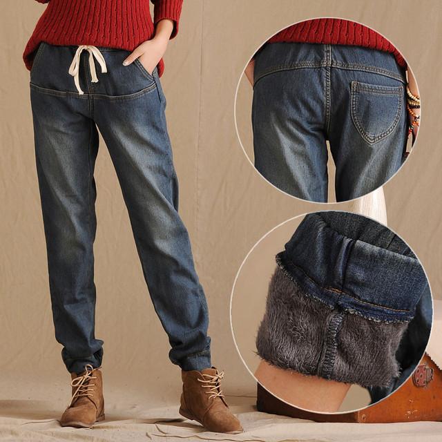 Inverno de Jeans Cintura elástica Calças Soltas Harem Pants Calças das Mulheres Mais Grossa de Veludo Quente Em Linha Reta Denim Jeans Leggings C1505