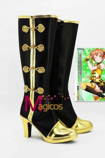 Anime Love live! Kousaka Honoka Chirpaur zapatos de fiesta Cosplay negro y oro Boots por encargo