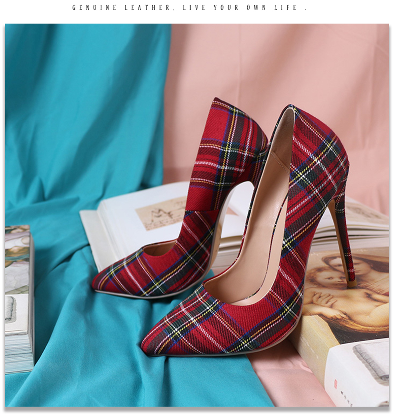 Pumps Heels Red Pointed Plaid Shoes 16