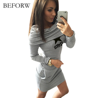 BFEORW 2017 Autumn Hooded Dresses Women Pocket Long Sleeve Mini Hoodie Dress Women Pack Hip Sportwear